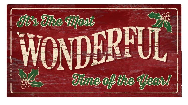 Placa de madera del día de fiesta de la Navidad fotografía de archivo libre de regalías