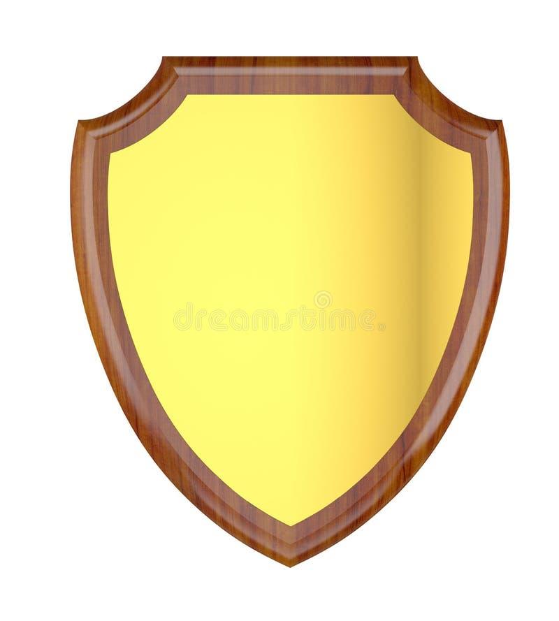 Placa de madera en blanco con la placa de oro. fotografía de archivo libre de regalías