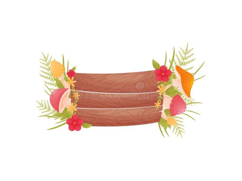 Placa de madera sin una inscripción adornada con las setas, las flores y las hojas Ejemplo del vector en blanco ilustración del vector
