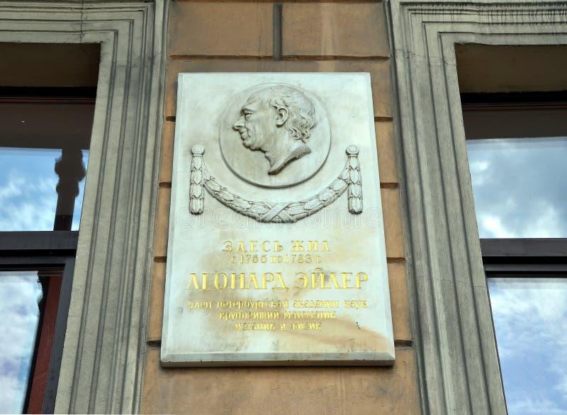 Placa de Memorual dedicada a Leonhard Euler fotografía de archivo