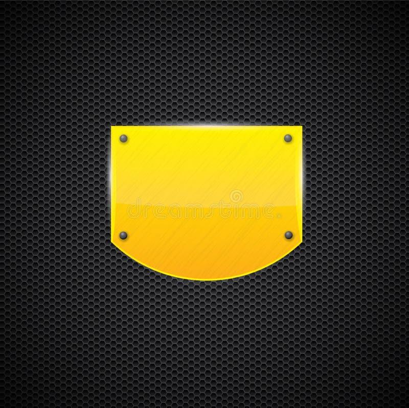 Placa De Metal Amarela Lustrada Do Estilo Do Protetor Fotografia de Stock Royalty Free