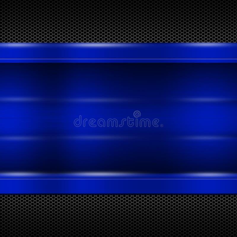 Placa de metal azul na malha metálica preta para o fundo e a textura ilustração stock