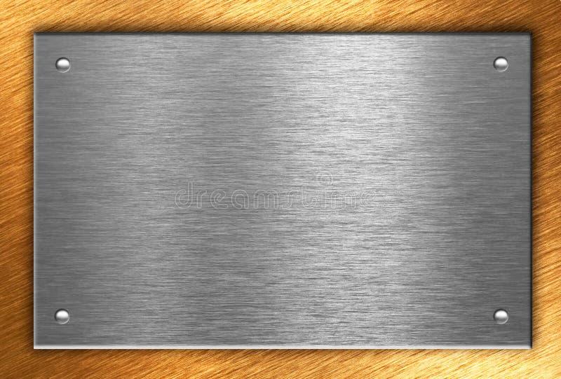 Placa de metal com os quatro rebites sobre o bronze imagem de stock