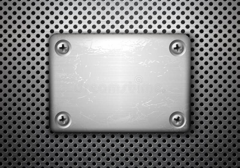 Placa de metal com parafusos ilustração do vetor