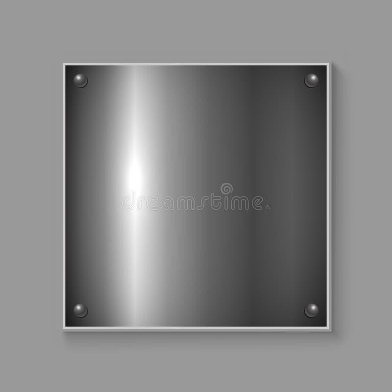 Placa de metal cuadrada ilustración del vector
