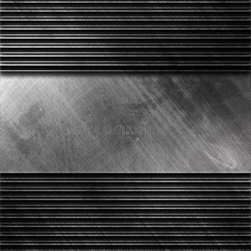 Placa de metal de prata lustrada com teste padrão da listra fotos de stock royalty free