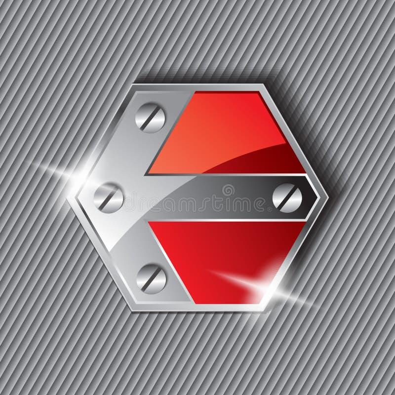 Placa de metal del Grunge con la muestra de la flecha stock de ilustración
