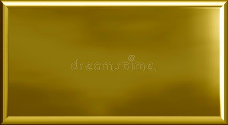 Placa de metal del oro imagen de archivo libre de regalías