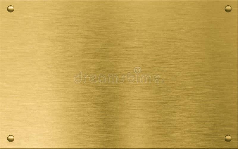 Placa de metal del oro o nameboard con los remaches foto de archivo