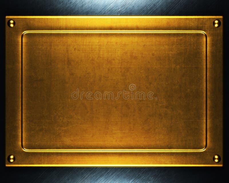 Placa de metal do ouro fotos de stock royalty free