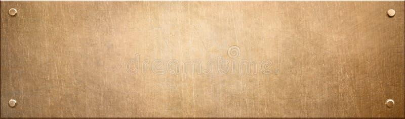Placa de metal estreita velha do cobre ou do bronze com ilustração dos rebites 3d ilustração do vetor