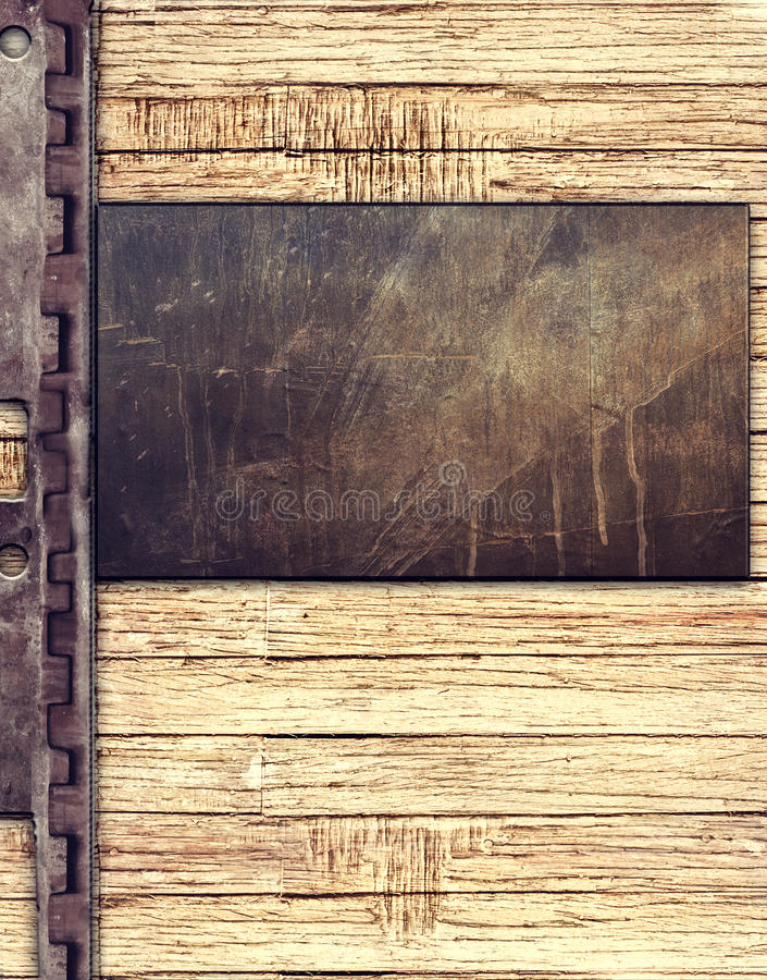 Placa de metal no fundo de madeira ilustração stock