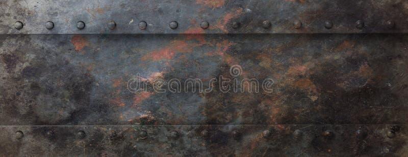 Placa de metal preta oxidada com fundo dos parafusos, bandeira ilustração 3D ilustração stock