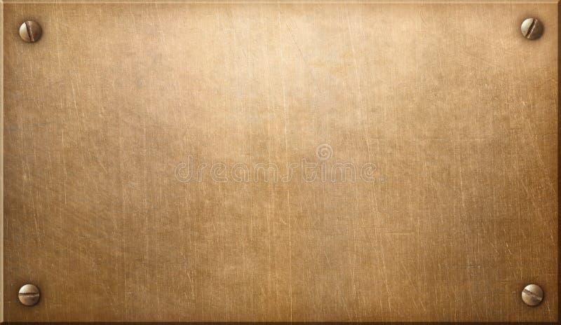 Placa de metal velha do cobre ou do bronze com ilustração dos rebites 3d ilustração royalty free