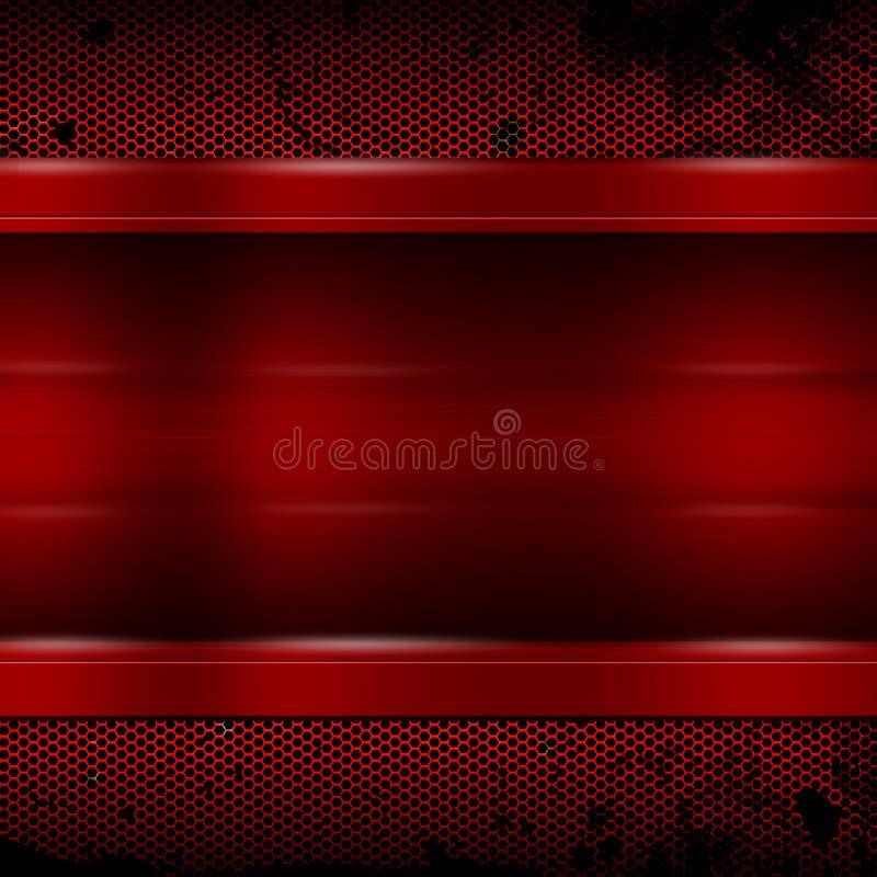Placa de metal vermelha na malha metálica vermelha velha para o fundo e a textura ilustração royalty free