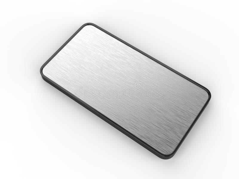 Placa de nome porta do quadro e do Signage ou da mesa vazia da parede com a placa de metal escovada 3d rendem a ilustração ilustração do vetor