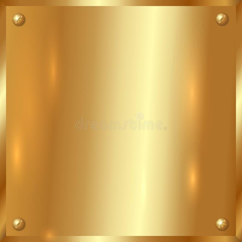 Placa de oro del vector con los tornillos fotografía de archivo
