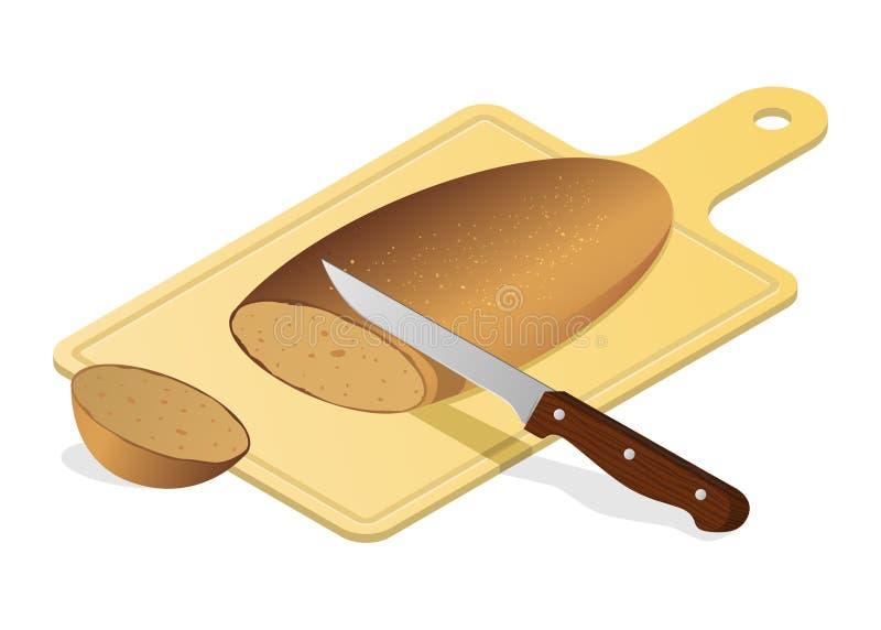 Placa de pão com faca ilustração do vetor