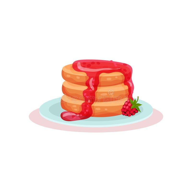 Placa de panquecas saborosos com doce de framboesa fresco Sobremesa deliciosa Alimento doce Vetor liso para o menu ou a receita d ilustração stock