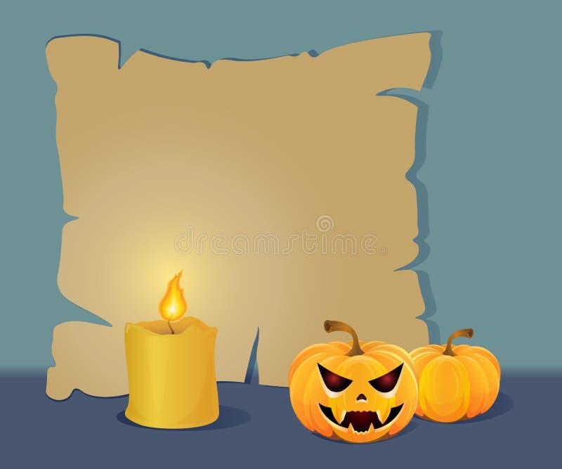 Placa de papel de Dia das Bruxas com uma vela imagem de stock
