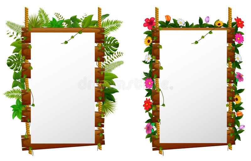 Placa de papel vazia no quadro indicador de madeira no jardim ilustração do vetor
