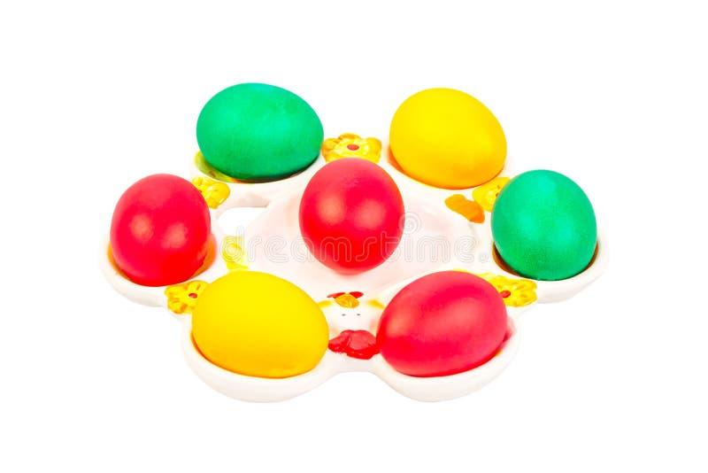 Placa de Pascua con los huevos foto de archivo libre de regalías