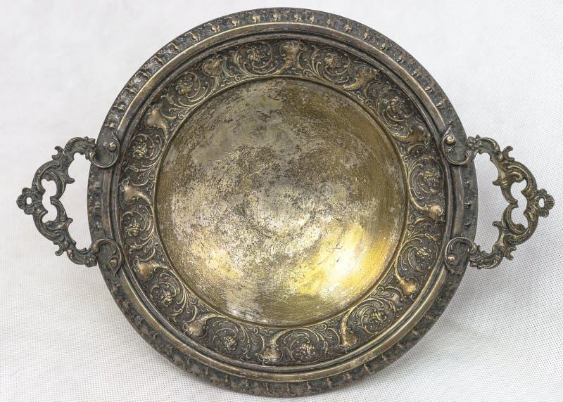 Placa de prata antiga foto de stock royalty free