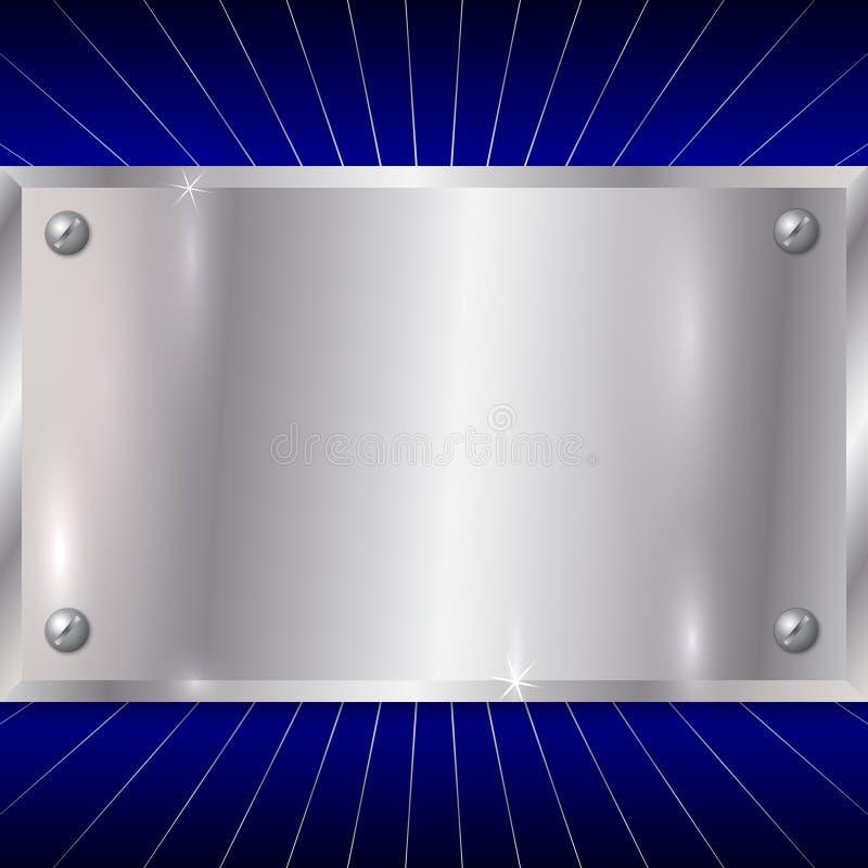 Placa de prata metálica do vetor no fundo azul ilustração royalty free