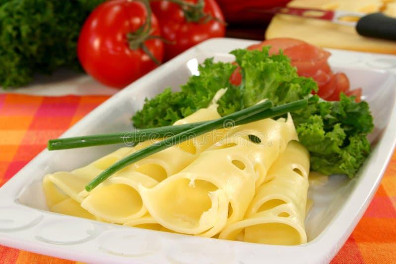 Placa de queijo da salsicha fotografia de stock