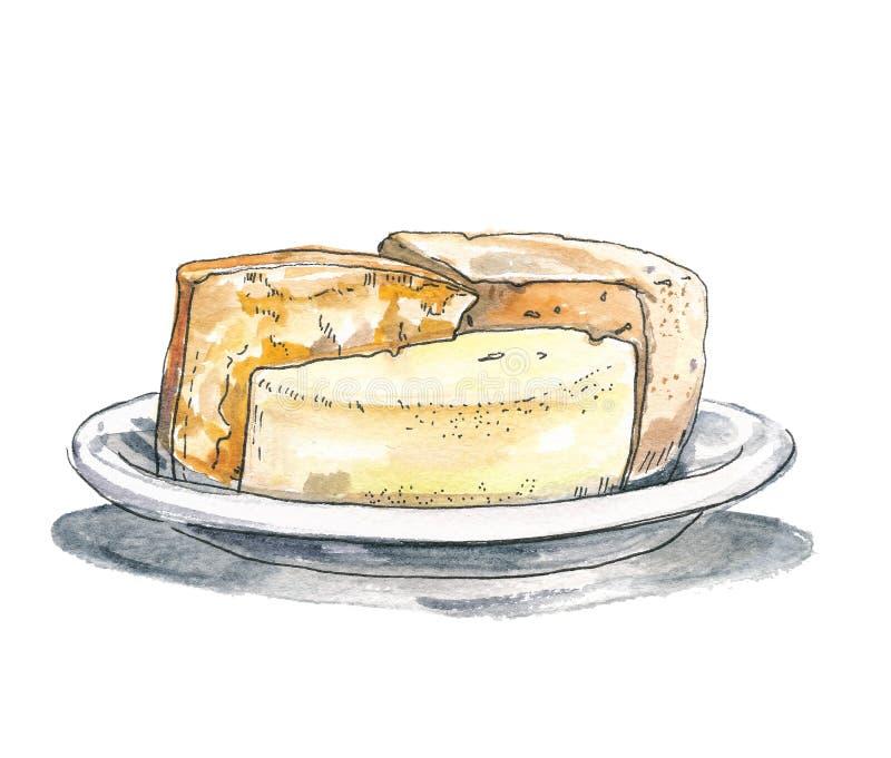 Placa de queijo italiana, espanhola e francesa Ilustração da tinta e do waterecolor isolada no fundo branco ilustração do vetor