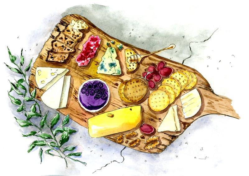 Placa de queso con la miel y las galletas Pintado en acuarela stock de ilustración