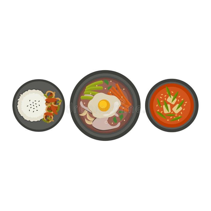 Placa de sopa tradicional de Corea en el cuenco aislado en delicioso del fondo de la comida sana blanca del desayuno y vegetarian ilustración del vector