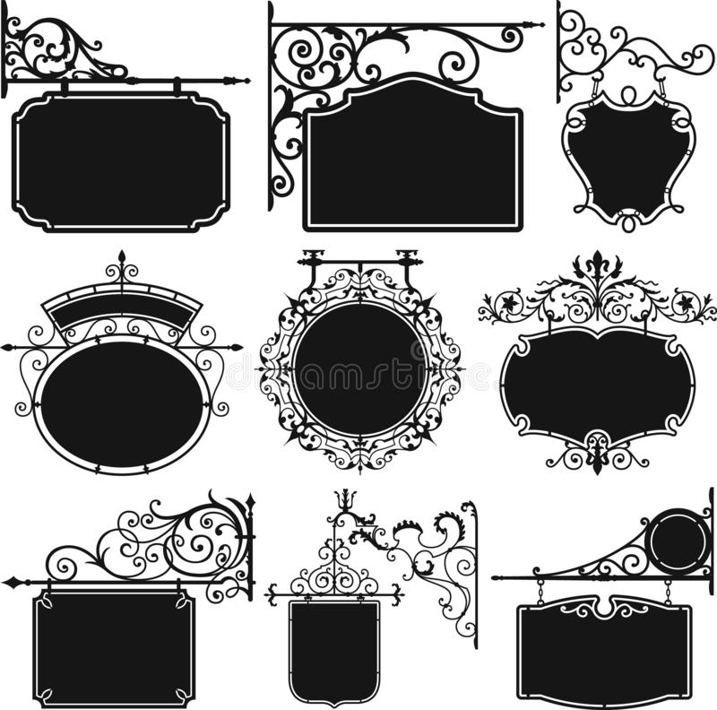 Placa de suspensão antiga do sinal do ferro forjado ilustração royalty free