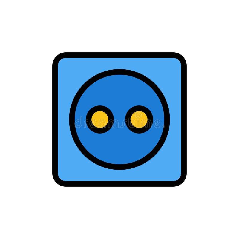 Placa de tomada, Eco, energia, ícone liso da cor do poder Molde da bandeira do ícone do vetor ilustração do vetor