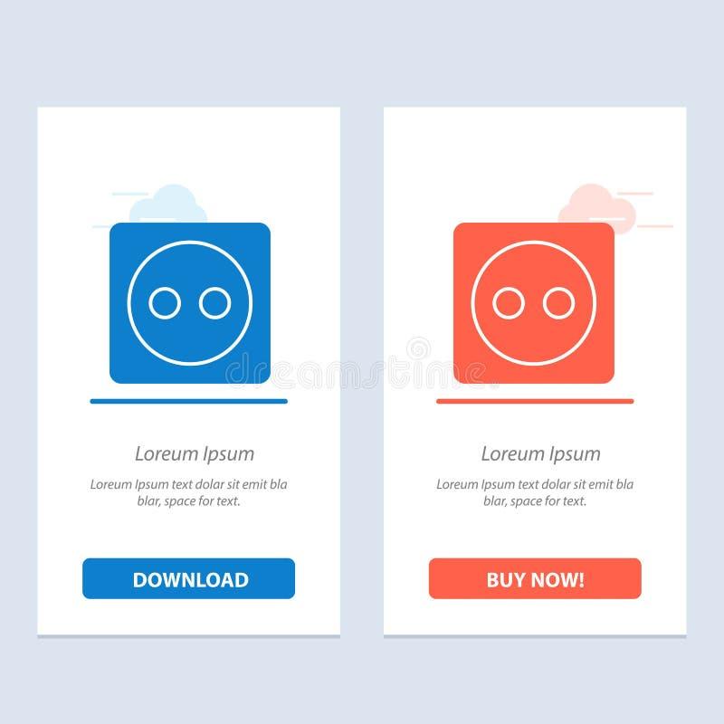 Placa de tomada, Eco, energia, azul do poder e transferência vermelha e para comprar agora o molde do cartão do Widget da Web ilustração royalty free