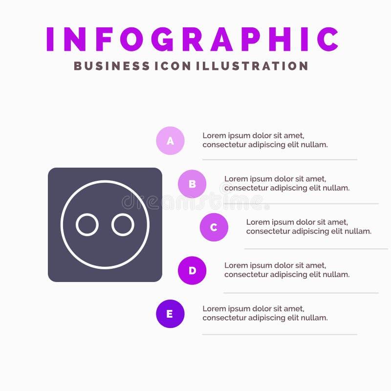 Placa de tomada, Eco, energia, fundo contínuo da apresentação das etapas de Infographics 5 do ícone do poder ilustração royalty free