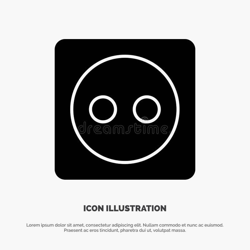 Placa de tomada, Eco, energia, vetor contínuo do ícone do Glyph do poder ilustração royalty free