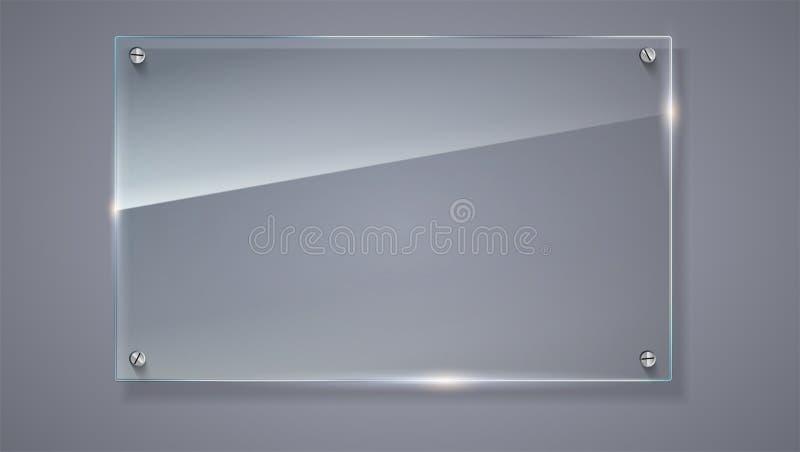 Placa de vidro do vetor vazio, transparente Molde do vetor, bandeira horizontal com cópia-espaço Textura realística da foto com ilustração royalty free