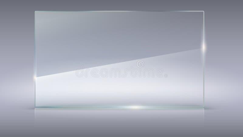 Placa de vidro do vetor vazio, transparente Molde do vetor, bandeira horizontal com cópia-espaço Textura realística da foto com ilustração stock