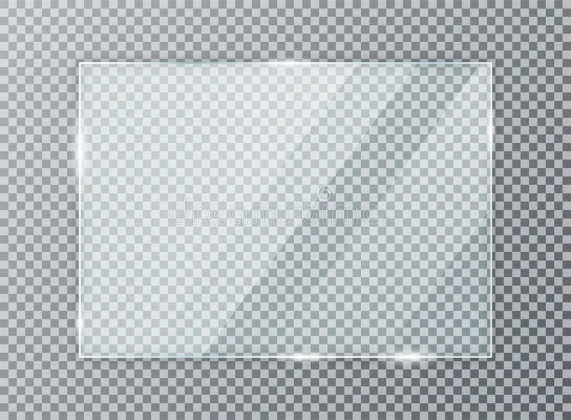 Placa de vidro no fundo transparente Textura acrílica e de vidro com brilhos e luz ilustração stock
