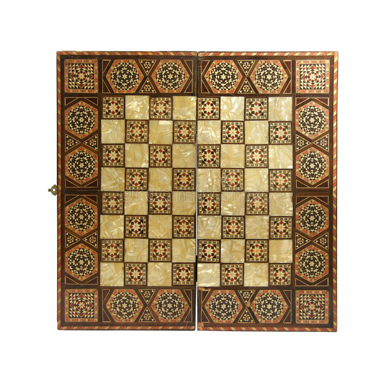 Placa de xadrez antiga fotografia de stock