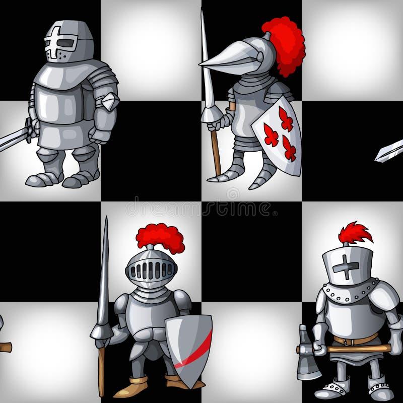 Placa de xadrez com fundo sem emenda do teste padrão dos cavaleiros medievais dos desenhos animados ilustração stock