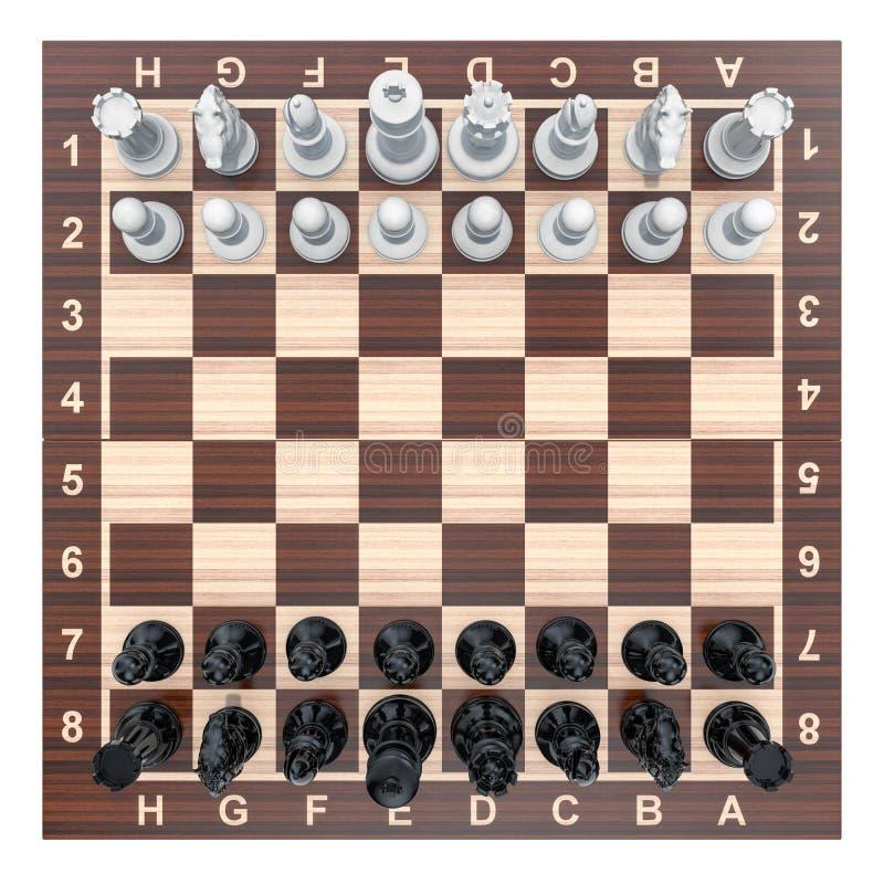 Placa de xadrez com partes de xadrez, vista superior rendi??o 3d ilustração royalty free