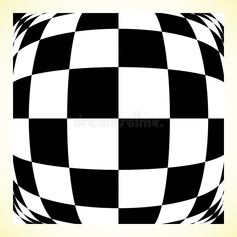Placa de xadrez quadriculado do teste padrão, placa de verificador com distorção ilustração stock