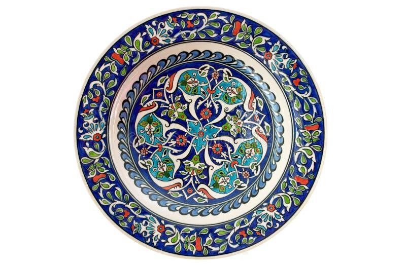 Placa decorativa turca del azulejo - aislada imagen de archivo