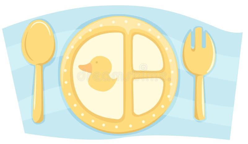 Placa del alimento de Childs con la cuchara y la fork ilustración del vector