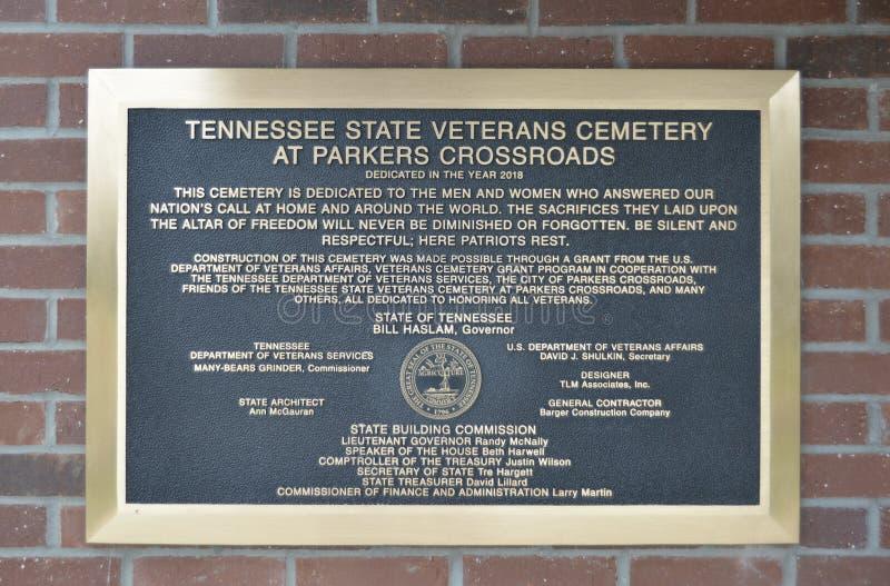 Placa del cementerio de los veteranos en Parker Crossroads fotos de archivo libres de regalías
