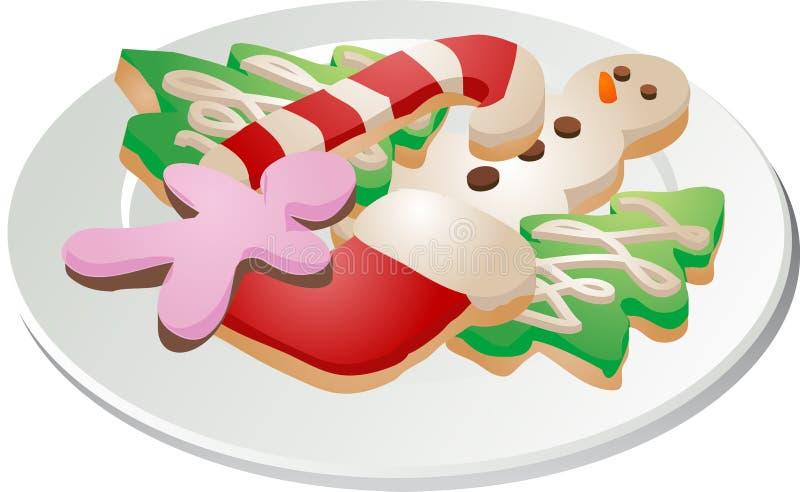Placa del ona de las galletas de la Navidad stock de ilustración