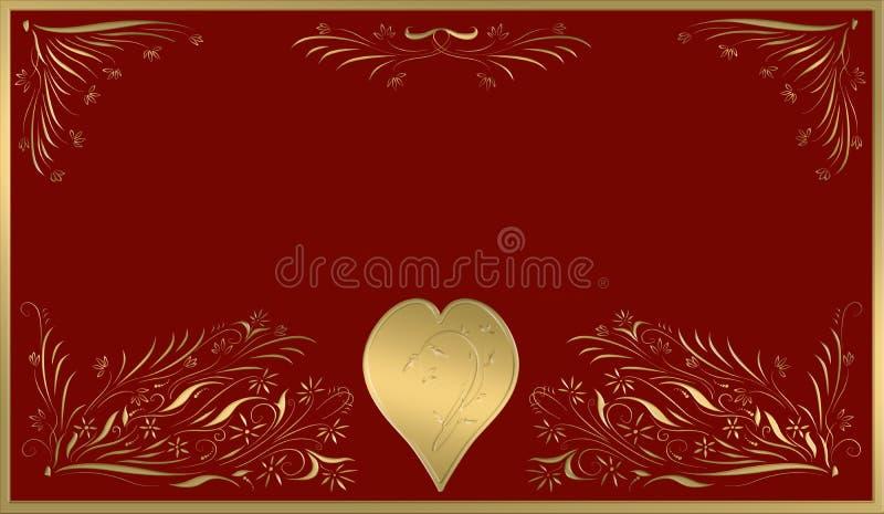 Placa del oro de la tarjeta de las tarjetas del día de San Valentín ilustración del vector