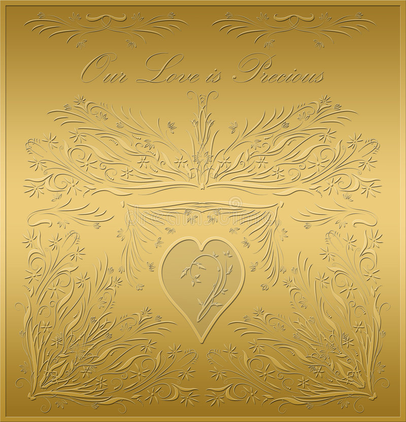 Placa del oro de la tarjeta de las tarjetas del día de San Valentín libre illustration